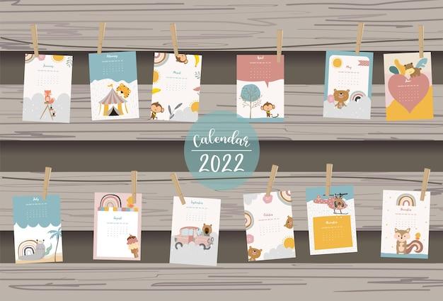 2022-tabellenkalenderwoche beginnt am sonntag mit tier und regenbogen, die für vertikales digitales und bedruckbares a4 a5-format verwendet werden