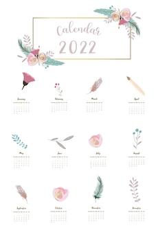 2022-tabellenkalenderwochenbeginn am sonntag mit feder,blume, die für vertikales digitales und bedruckbares a4 a5-format verwendet wird