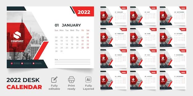 2022 tischkalender neues vektorvorlagendesign