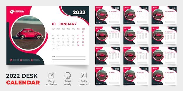 2022 tischkalender vektorvorlage