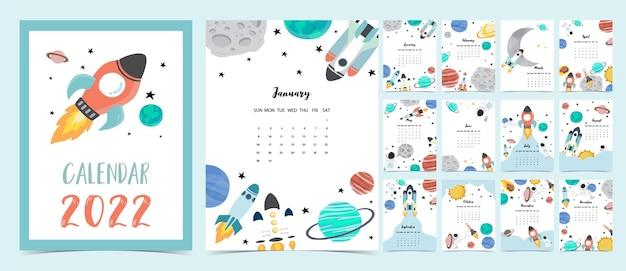 2022 tischkalender wochenstart am sonntag mit astronaut und galaxie