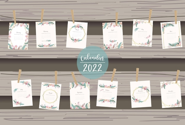 2022 tischkalender wochenstart am sonntag mit feder und blume