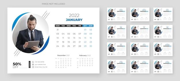 2022 tischkalendervorlage im modernen stil