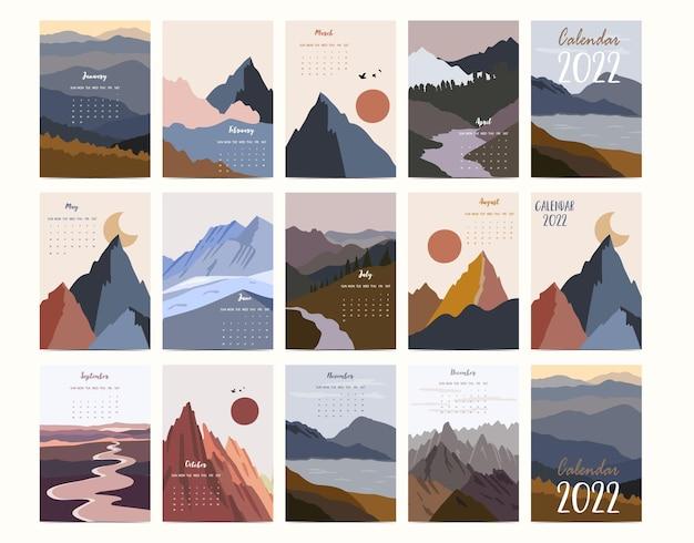 2022 tischkalenderwochenstart am sonntag mit berg und sonne, die für vertikales digitales und bedruckbares a4 a5-format verwendet werden
