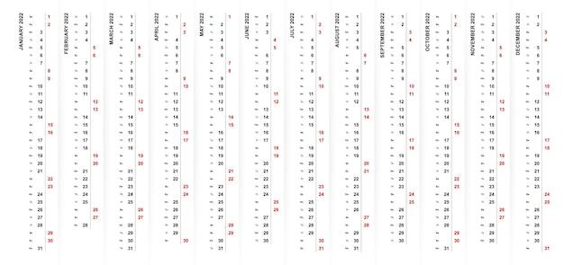 2022 vertikales kalenderdesign, samstag und sonntag in verschiedenen farben und reihen ausgewählt.