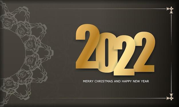 2022 weihnachtskarte frohe weihnachten und ein glückliches neues jahr braune farbe mit winterlichtmuster