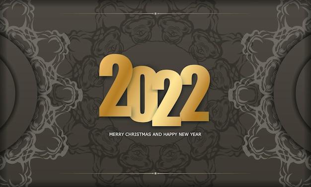 2022 weihnachtskarte frohe weihnachten und ein glückliches neues jahr in braun mit vintage light ornament