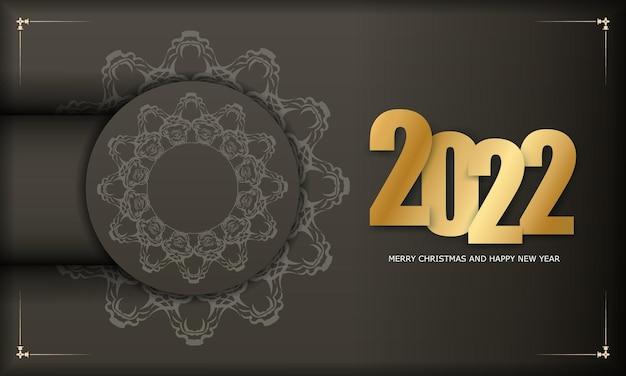 2022 weihnachtskarte frohe weihnachten und ein glückliches neues jahr in brauner farbe mit vintage-lichtornament