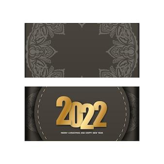 2022 weihnachtskarte frohes neues jahr braune farbe mit vintage light ornament