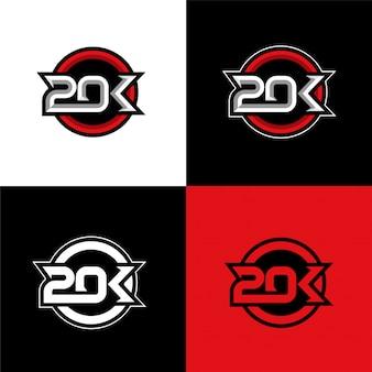 20k anfängliche sport logo vorlage