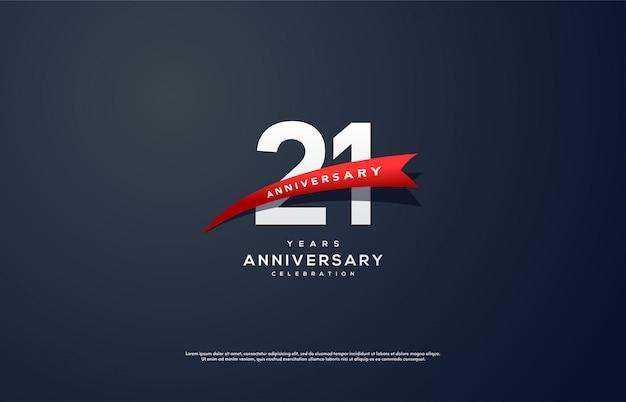 21. jubiläumsfeier mit weißen zahlen und rotem band.