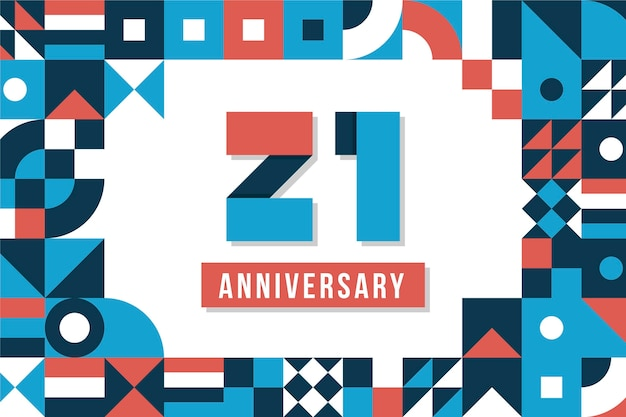 21 jubiläumshintergrund mit geometrischen formen
