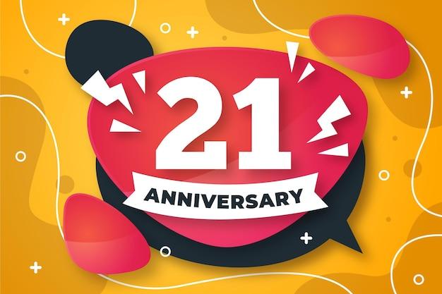 21 jubiläumshintergrund mit verlaufselementen