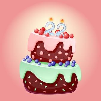 22 jahre geburtstag niedlichen cartoon festlichen kuchen mit kerze nummer zweiundzwanzig. schokoladenkeks mit beeren, kirschen und blaubeeren. für partys, jubiläen