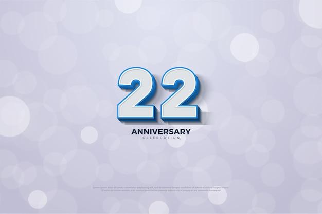 22. jubiläum mit blau umrandeter und geprägter nummer