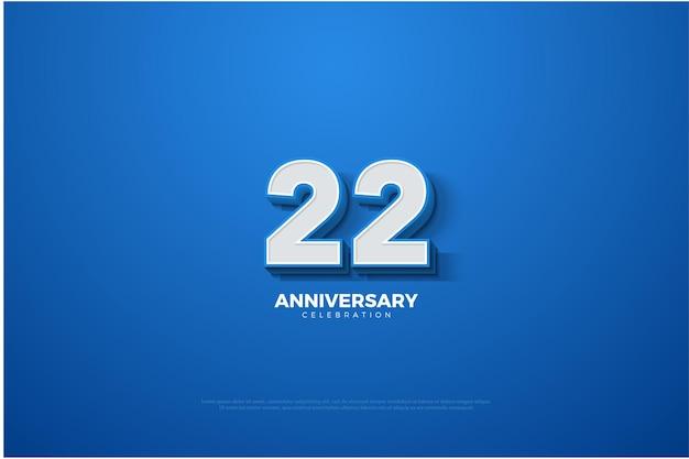 22. jubiläum mit geprägter nummer auf blau