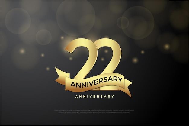 22. jubiläum mit goldener nummer und schleife