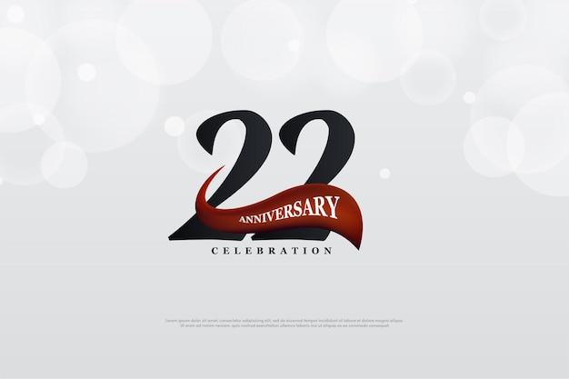22. jubiläum mit nummer und geschwungenem roten bild