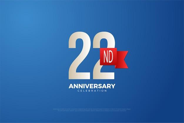 22. jubiläum mit nummer und rotem band