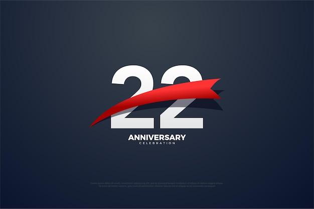 22. jubiläum mit roter spitznummer und bildern