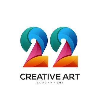 22 logo buntes farbverlaufsdesign