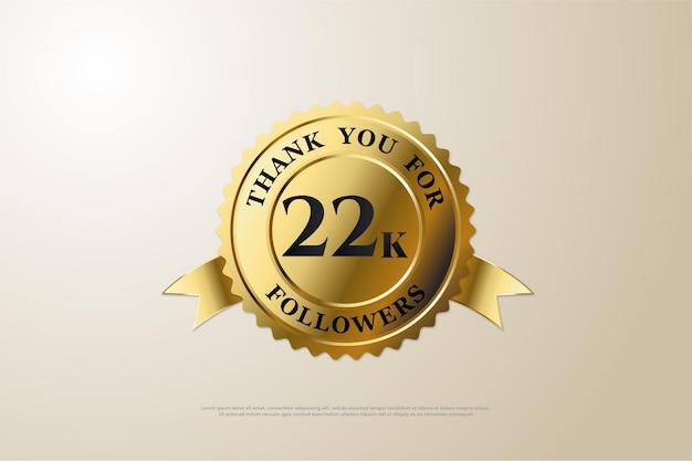 22k follower mit einer nummer in der mitte der goldmedaille