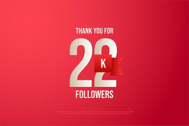 22k follower mit zahlen und rotem band
