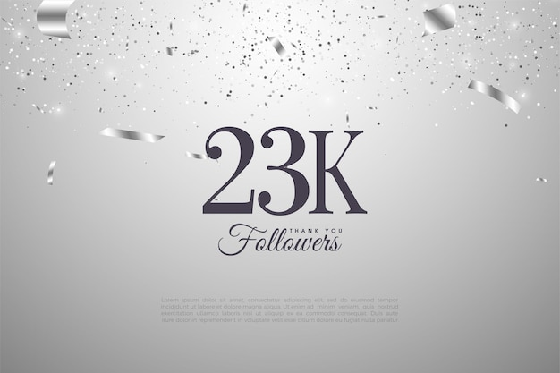23.000 follower mit flachen zahlen Premium Vektoren