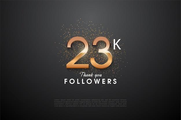 23.000 follower mit leuchtenden zahlen in der mitte