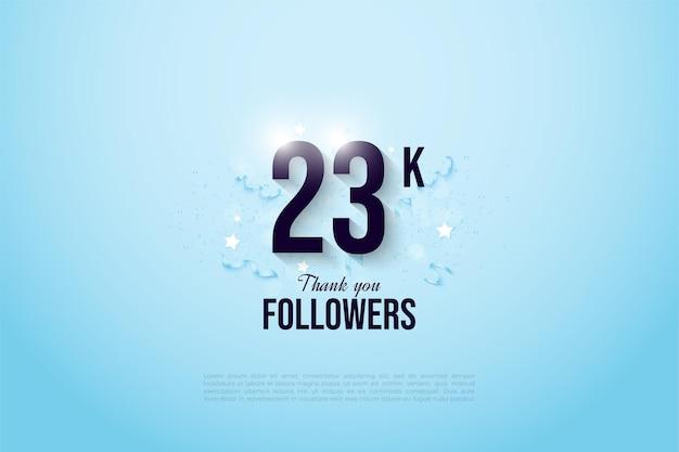23.000 follower mit schwarzen zahlen auf hellblauem hintergrund