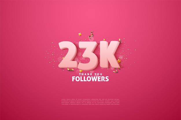 23.000 follower mit weichen weißen zahlen