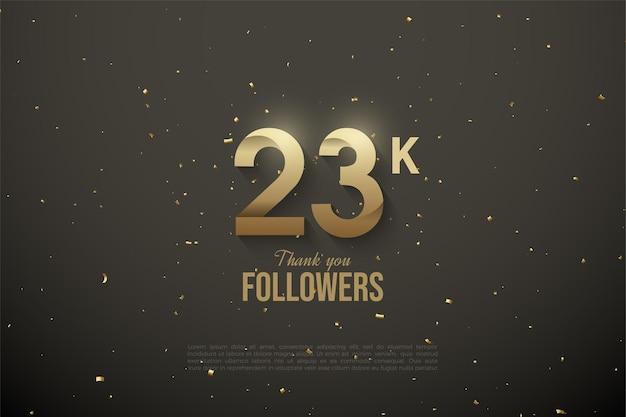 23.000 follower mit weißen zahlen auf dunkelgrünem hintergrund