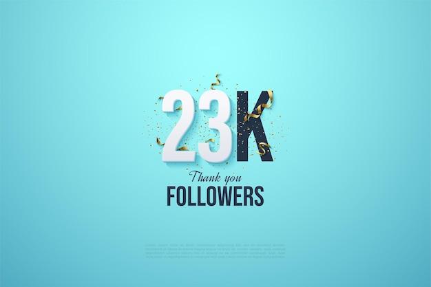 23.000 follower mit weißen zahlen