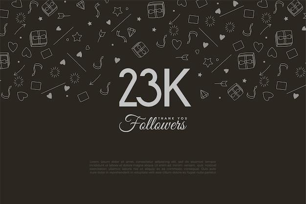 23.000 follower mit weißen zahlen Premium Vektoren