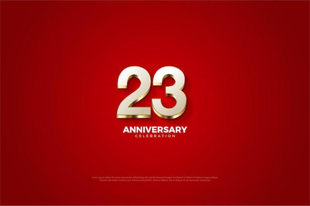 23. jubiläum mit wunderschönen goldenen zahlenillustrationen