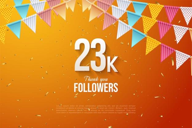 23k follower mit bunter flaggenillustration