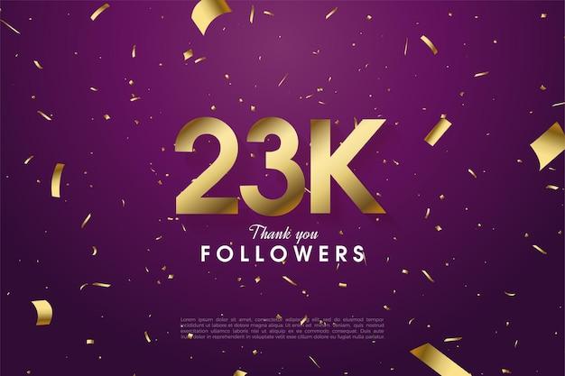 23k follower mit einfacher designillustration Premium Vektoren