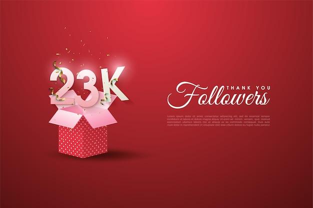 23k follower mit geschenkbox-illustration