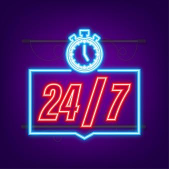 24-7 servicekonzept. 24-7 geöffnet. neon-symbol. support-service-symbol. vektorgrafik auf lager.
