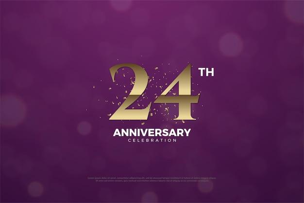 24. jahrestag mit braunen zahlen auf lila hintergrund