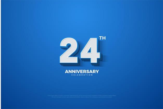 24. jubiläum mit geprägten 3d-zahlen