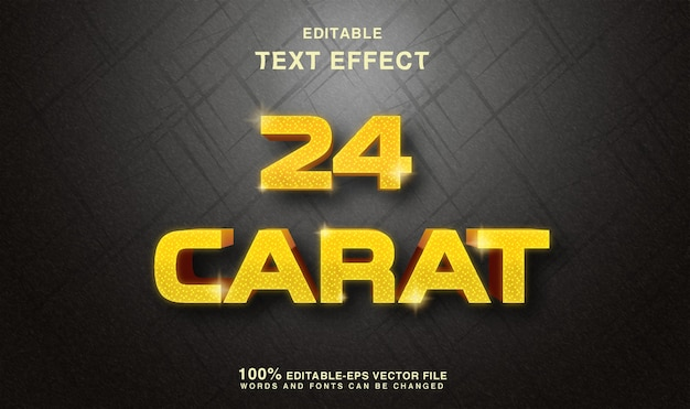 24 karat goldener texteffekt Premium Vektoren