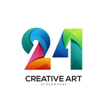 24 logo buntes farbverlaufsdesign