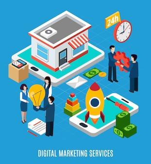 24 stunden digitale onlinemarketing-dienstleistungen auf blauer illustration 3d