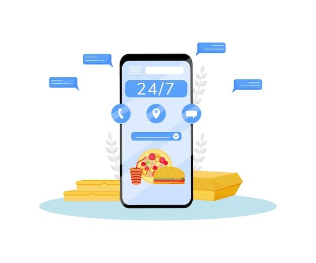 24 stunden lebensmittel express lieferung flache konzept illustration. mobile online-auftragsverfolgung. internet-restaurant, fertiggerichte bestellen und kurierzustellung kreative idee