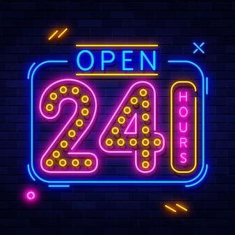 24 stunden leuchtreklame geöffnet
