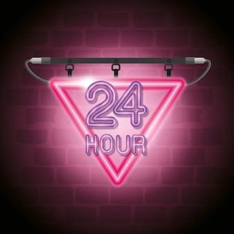 24 stunden neon-label-symbol