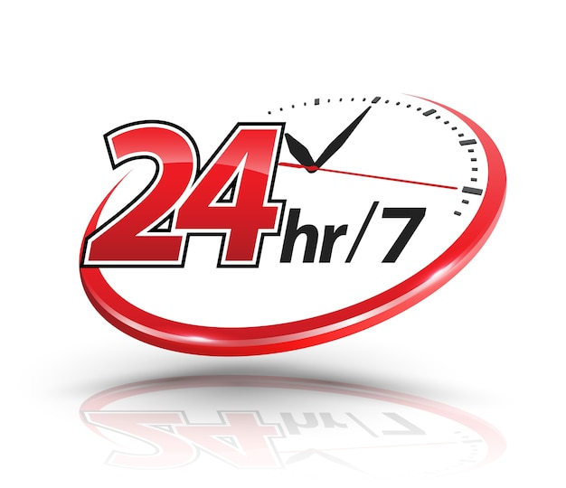 24-stunden-service mit uhrenskala