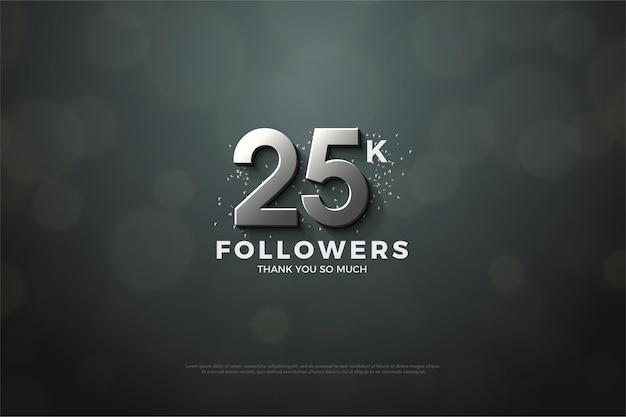 25.000 follower mit zahlenillustration und einzigartigem hintergrund