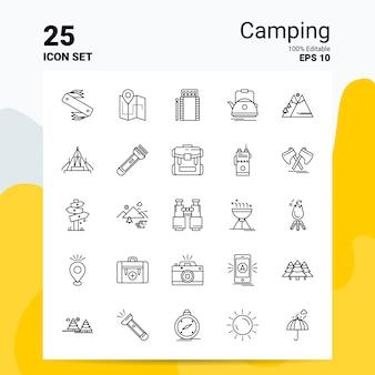 25 camping icon set geschäft logo concept ideas line-symbol